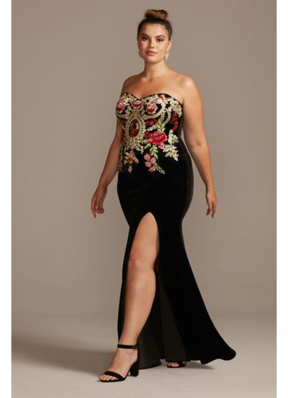 Floral Embroidered Velvet Strapless Plus Size Gown - A luxurious and lovely strapless plus-size gown is