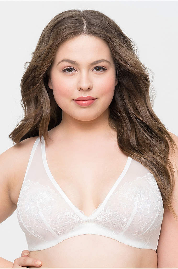 Curvy Couture Glistening Embroidery V-Neck Bra - Easy enough for daily wear, but dressy enough