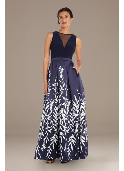 Illusion Bodice Leaf Motif Plus Size Ball Gown - A leaf-printed ball gown skirt (complete with pockets,