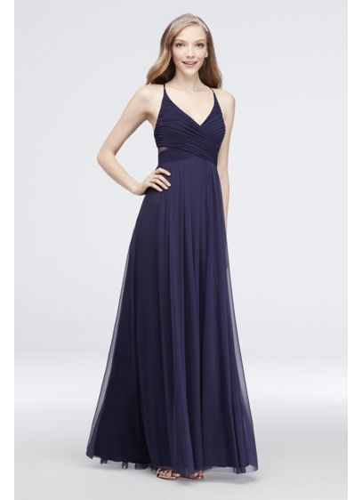 Pleated Mesh Gown with Illusion Back - Float into prom in this soft mesh gown.