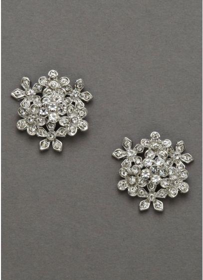 David's Bridal Grey (Crystal Flower Bouquet Earrings)