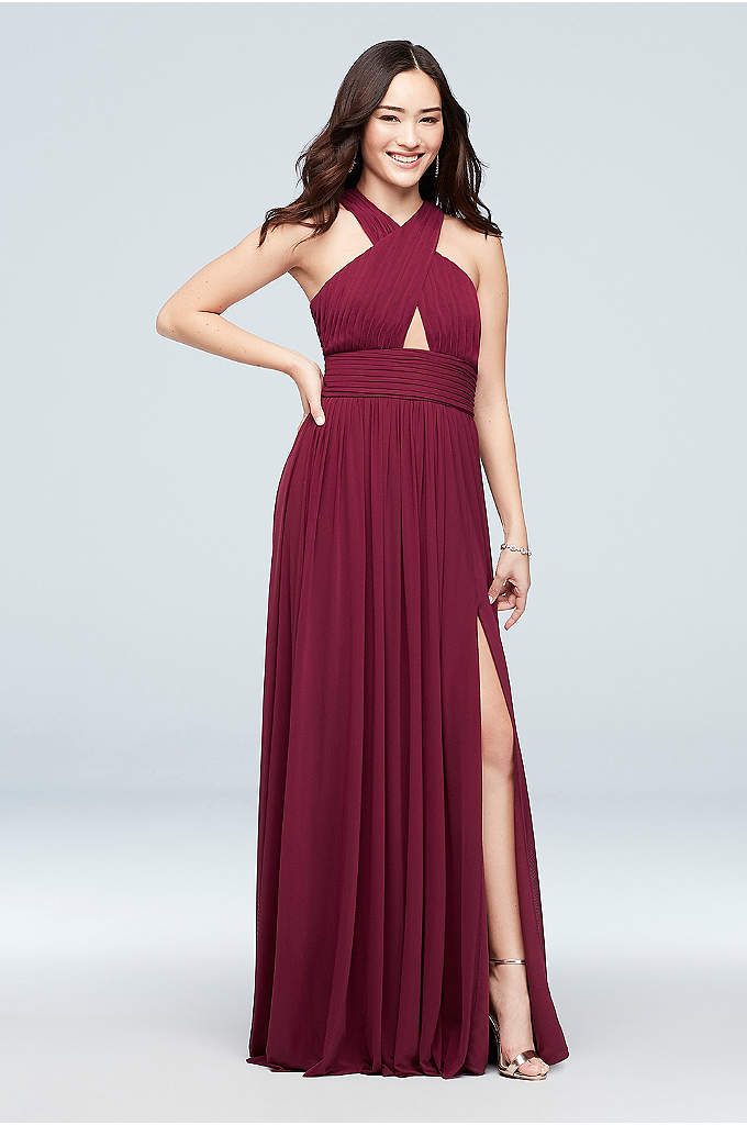 Cross-Front Mesh Halter Dress with Open Back - The is red-carpet-ready dress features a pleated cross-front