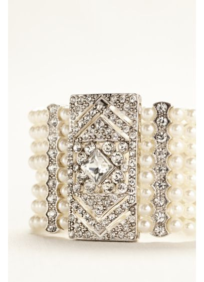 Pearl and Silver Deco Cuff Bracelet - Wedding Accessories