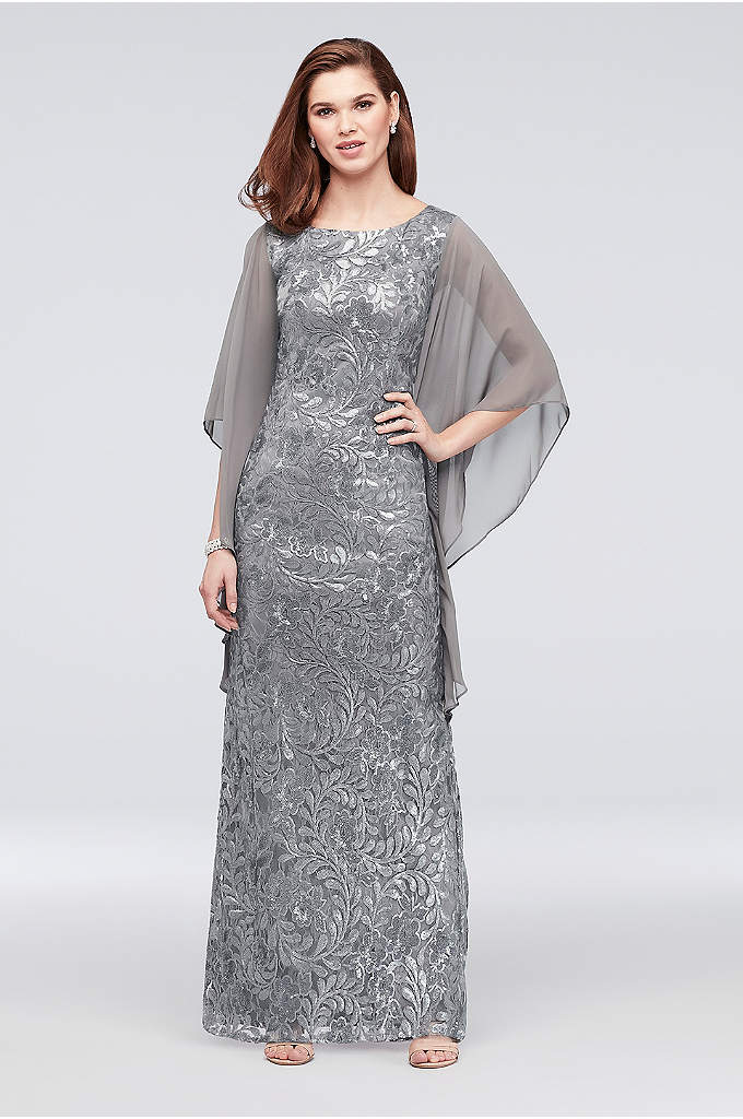 High-Neck Sequin Lace Dress with Cape Sleeves - Topped with dramatic chiffon cape sleeves, and adorned
