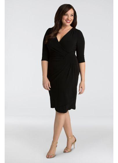 Short Sheath 3/4 Sleeves Cocktail and Party Dress - Kiyonna