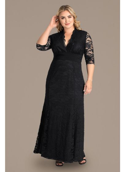 Screen Siren V-Neck Lace Plus Size Gown