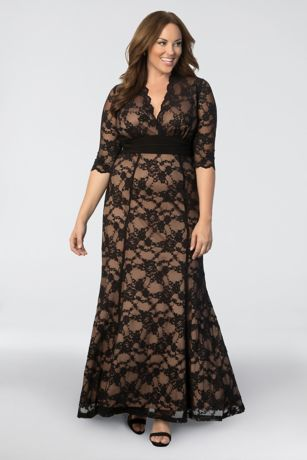 Long Mermaid/ Trumpet 3/4 Sleeves Dress - Kiyonna