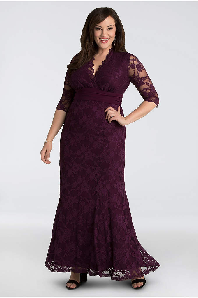 Lace Plus Size Gown with Siren V-Neck - Prepare to dance the night away in this