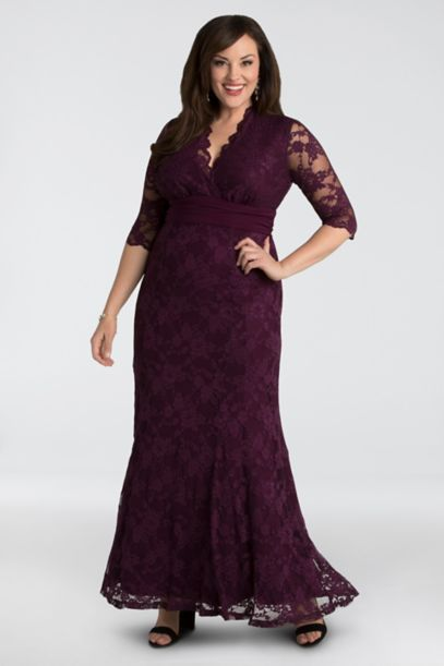 Lace Plus Size Gown With Siren V Neck Davids Bridal