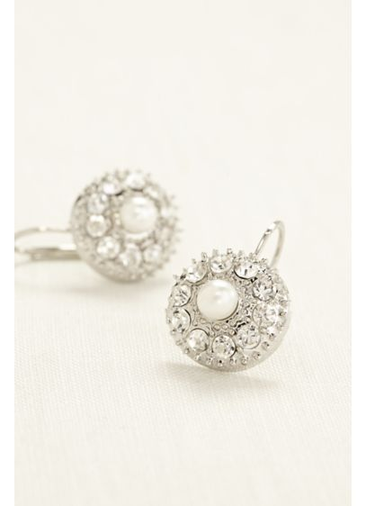 Crystal Button Earrings with Pearl Center - Wedding Accessories