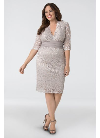 ba0a0e965c Lumiere Lace Plus Size Cocktail Dress. 13160907. Short Sheath 3 4 Sleeves  Cocktail and Party Dress - Kiyonna