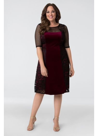 Mixed Lace and Mesh Plus Size Cocktail Dress - Adorned with panels of lace and mesh, this