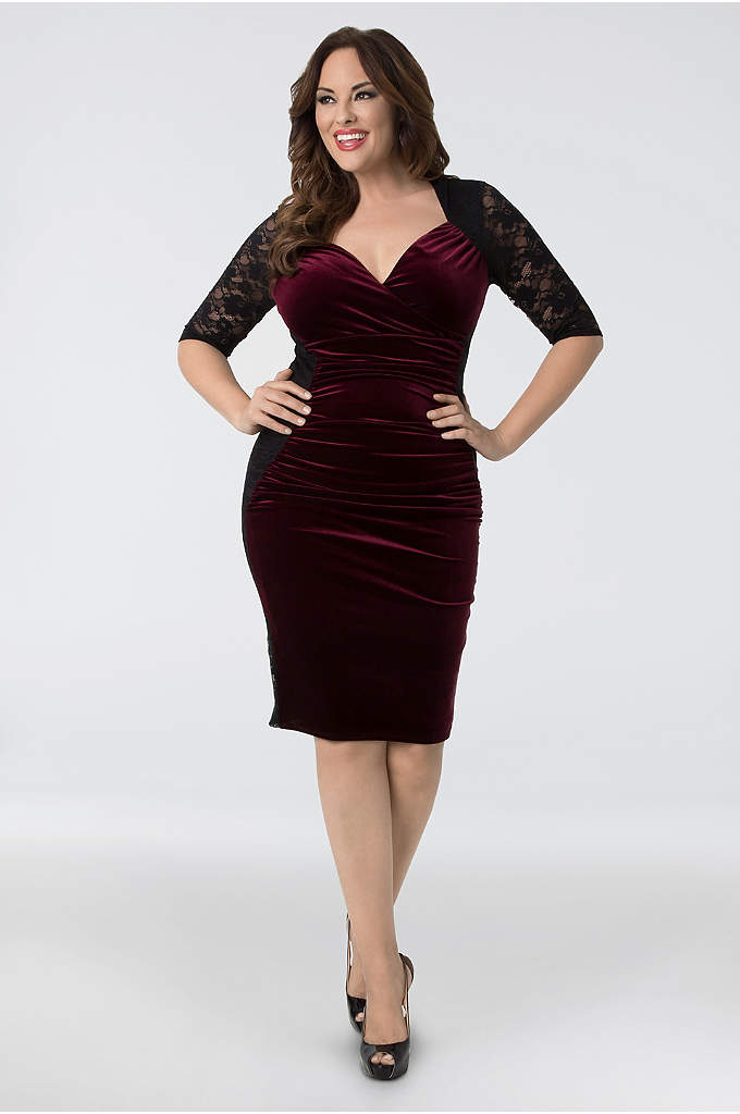 Hourglass Velvet Plus Size Cocktail Dress - Ready for some va-va-voom? This curve-hugging body-con dress