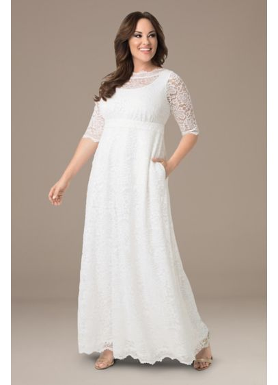 Long Sheath Boho Wedding Dress - Kiyonna