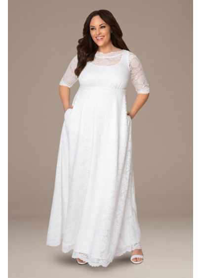 Sweet Serenity Plus Size A-Line Wedding Gown - A boatneck illusion bodice lends a graceful touch
