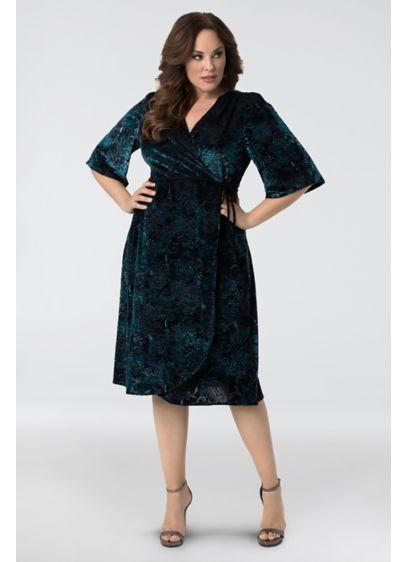 Vivica Embossed Velvet Plus Size Wrap Dress | David\'s Bridal