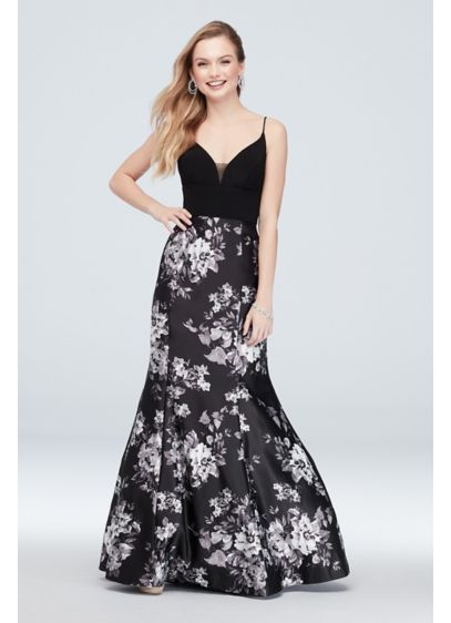 Deep-V Neck Floral Mermaid Gown with Sheer Panel - A plunging illusion-panel bodice is paired with an