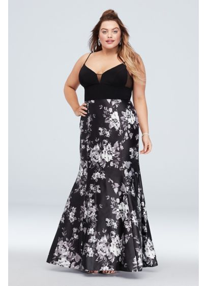 Deep-V Neck Plus Size Floral Mermaid Gown - This plus-size gown features a plunging illusion-panel bodice,