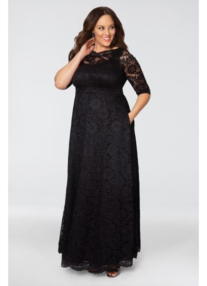 Leona Glitter Lace A-Line Plus Size Gown - This glitter lace A-line gown is simple yet