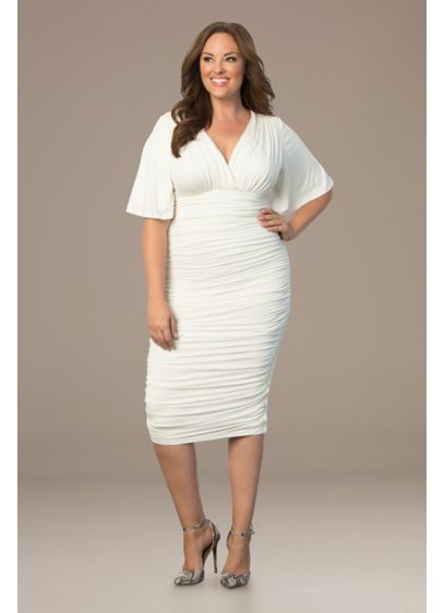 Paloma Flutter Sleeve Ruched Jersey Dress - This short ruched bodycon dress is sexy, flattering,