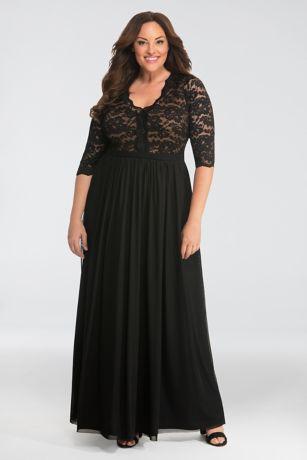 Long 3/4 Sleeves Dress - Kiyonna