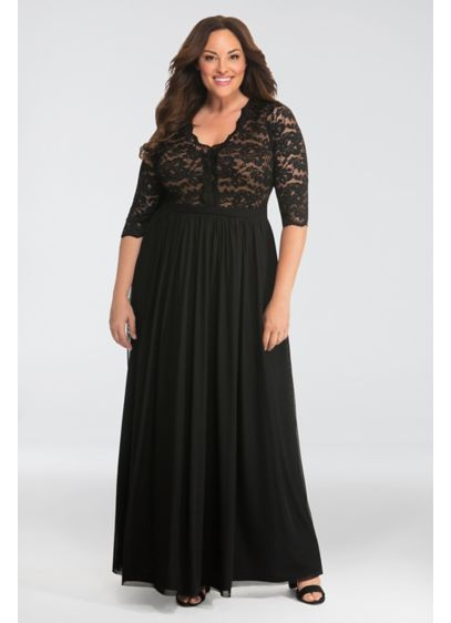 Jasmine Lace Plus Size Evening Gown - Elegant and romantic, this flattering plus-size gown is