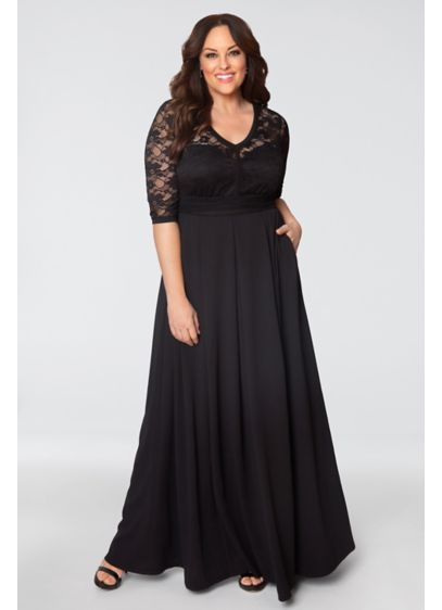 af75e953d513 Madeline Plus Size Evening Gown. 13182606. Long A-Line 3/4 Sleeves Cocktail  and Party Dress - Kiyonna