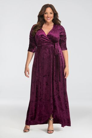 Long A-Line 3/4 Sleeves Dress - Kiyonna