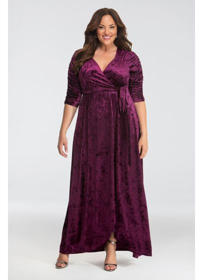 Cara Velvet Plus Size Wrap Dress - Designed with luxurious velvet fabric and finished with