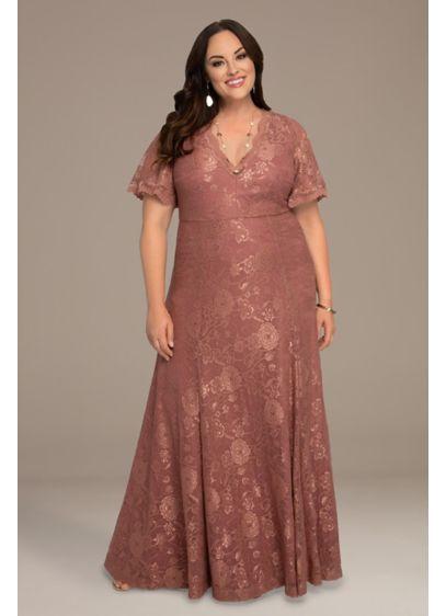 Long A-Line Short Sleeves Formal Dresses Dress - Kiyonna