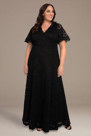 Long A-Line Short Sleeves Dress - Kiyonna