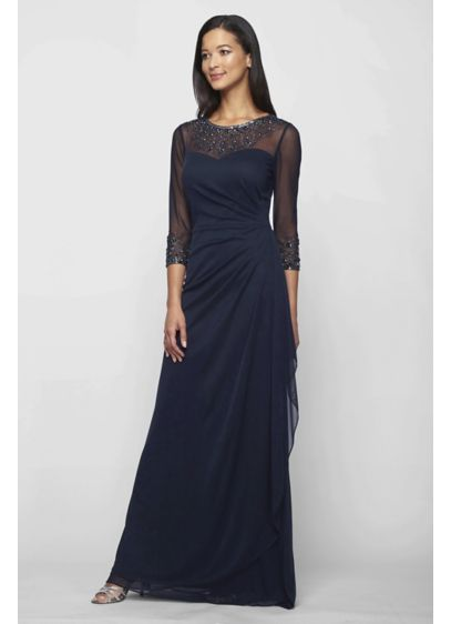 Ruched Illusion Mesh Sheath Gown with Jeweled Neck. 132833. Long Sheath 3 4  Sleeves Cocktail and Party Dress - Alex Evenings 5c9c1607119a