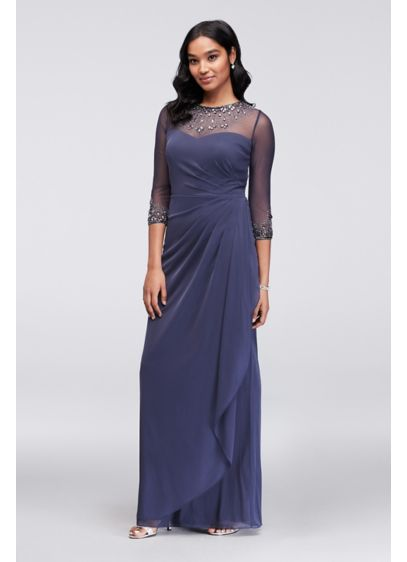 b4c345bff6680 Ruched Illusion Mesh Sheath Gown with Jeweled Neck. 1328331. Long Sheath  3/4 Sleeves Cocktail and Party Dress - Alex Evenings