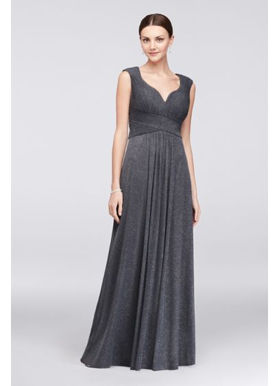 Glitter Mesh A-Line Gown with Pleated Bodice - Skinny pleats define the sweetheart bodice of this