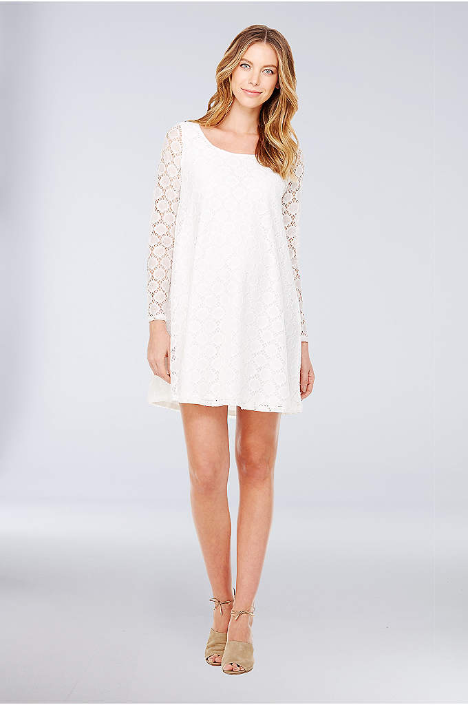 Long-Sleeve Dot Lace Maternity Dress - A scoop neckline and illusion long sleeves make