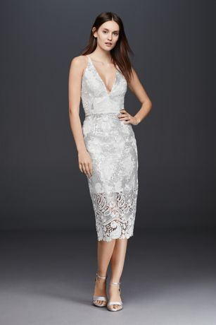 Plunging Sheath Dress With Sequin Lace Overlay Davids Bridal