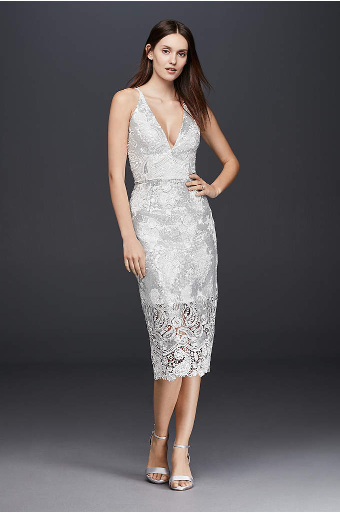 Plunging Sheath Dress with Sequin Lace Overlay - Gorgeously glam, this sheath dress offers a fresh