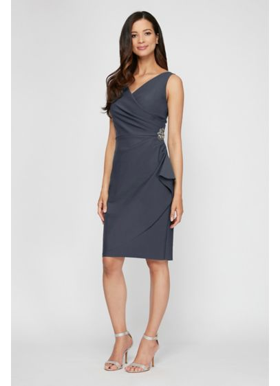 Short Sheath Short Sleeves Cocktail and Party Dress - Alex Evenings