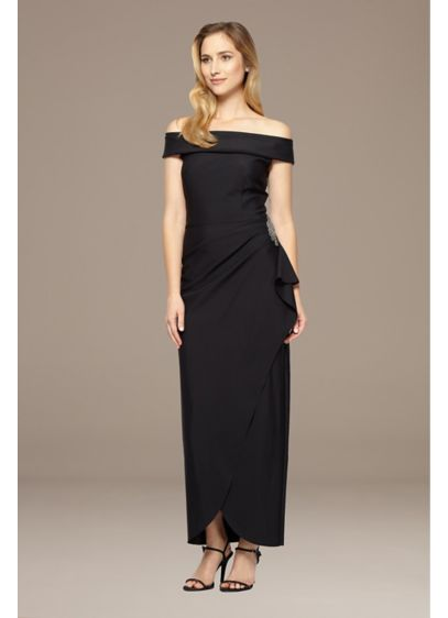 Off-the-Shoulder Dress with Cascade Ruffle - Elevate your formalwear in this off-the-shoulder gown. A