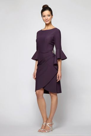 Short Sheath 3/4 Sleeves Dress - Alex Evenings