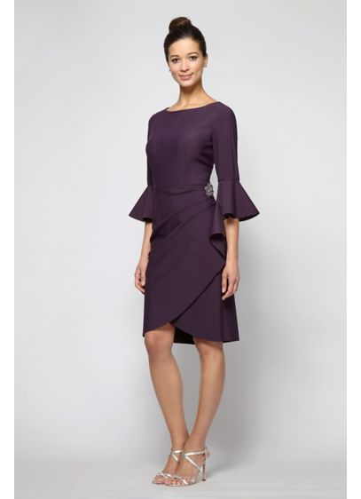 3/4-Sleeve Smoothing Knit Mock Wrap Cocktail Dress - This mock-wrap knit cocktail dress features side gathering