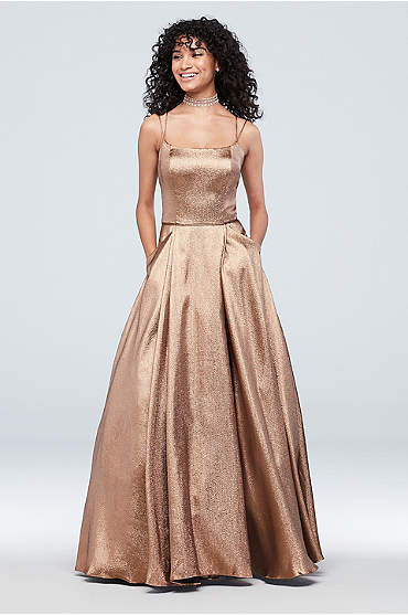 Double Spaghetti Strap Metallic Ball Gown