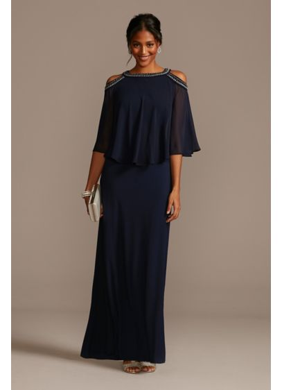 Embellished Cold Shoulder Chiffon Capelet Dress - A sleek floor-length gown is topped with a