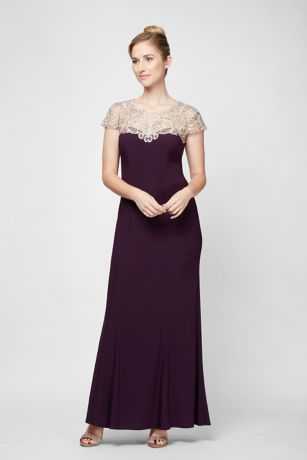 Embroidered Illusion Neckline Jersey Sheath Dress - Jeweled embroidery creates a beautiful focal point on