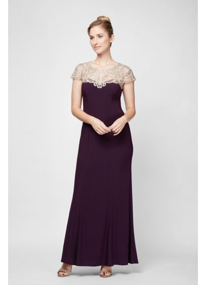 Long Sheath Cap Sleeves Cocktail and Party Dress - Alex Evenings
