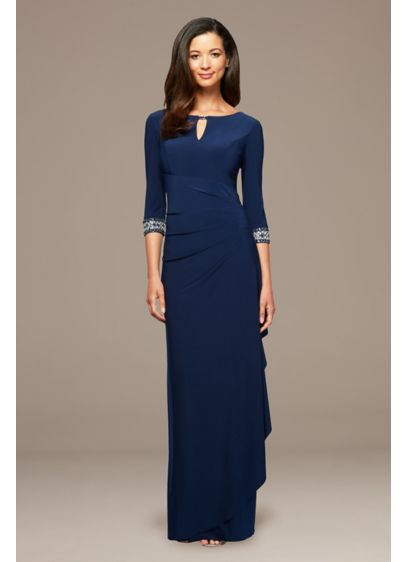 Long A-Line Cascade Dress with Embellished Sleeves - A stunning option for the mother of the
