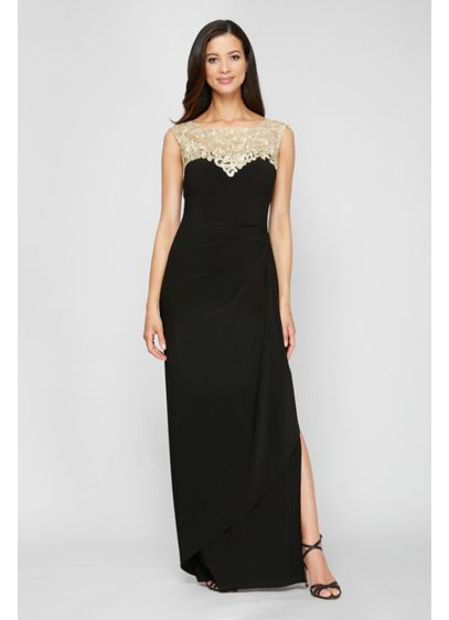Embroidered Yoke Matte Jersey Sheath Dress - Make a stunning entrance in this long sheath