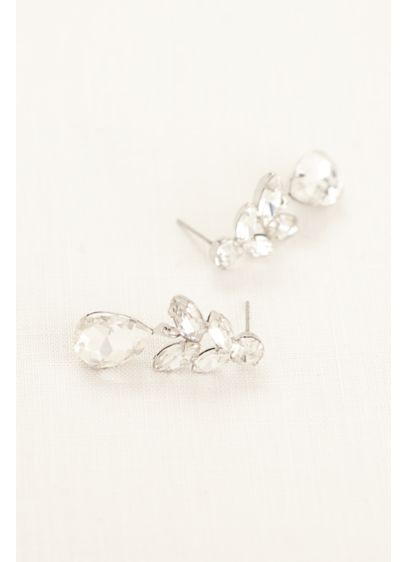 Faceted Rhinestone Drop Earrings - Wedding Accessories