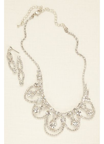 Scalloped Crystal Statement Set - Wedding Accessories