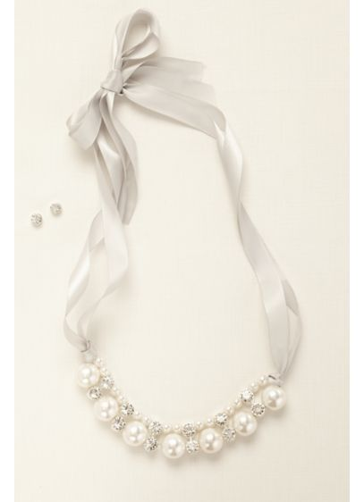 Pearl and Crystal Ribbon Necklace with Earrings - Wedding Accessories